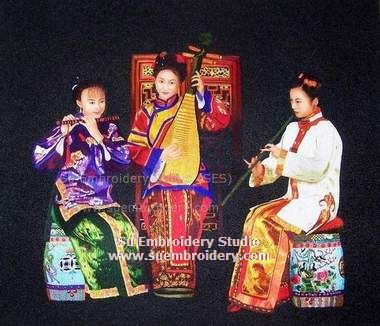 three lady musicians embroidery