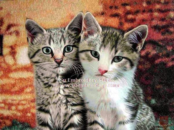 two cats silk embroidery