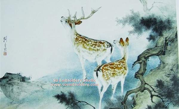 two deer silk embroidery