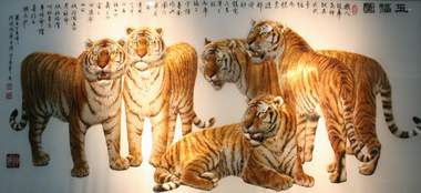 xiang embroidery tigers