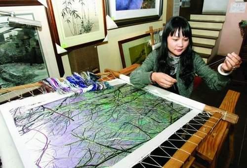 zou yingzi silk thread art