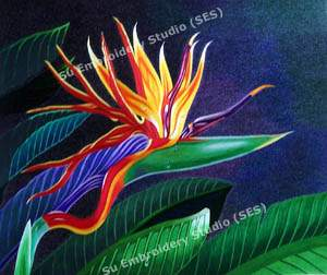silk embroidery bird of paradise flower